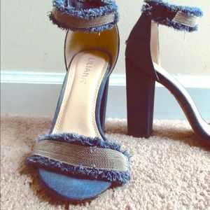 Shoes - Denim Embellished Heels